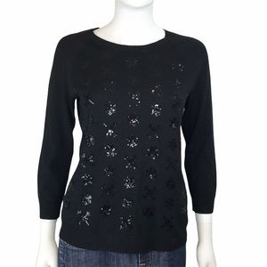 Talbots Snowflake Holiday Sequined Black Sweater